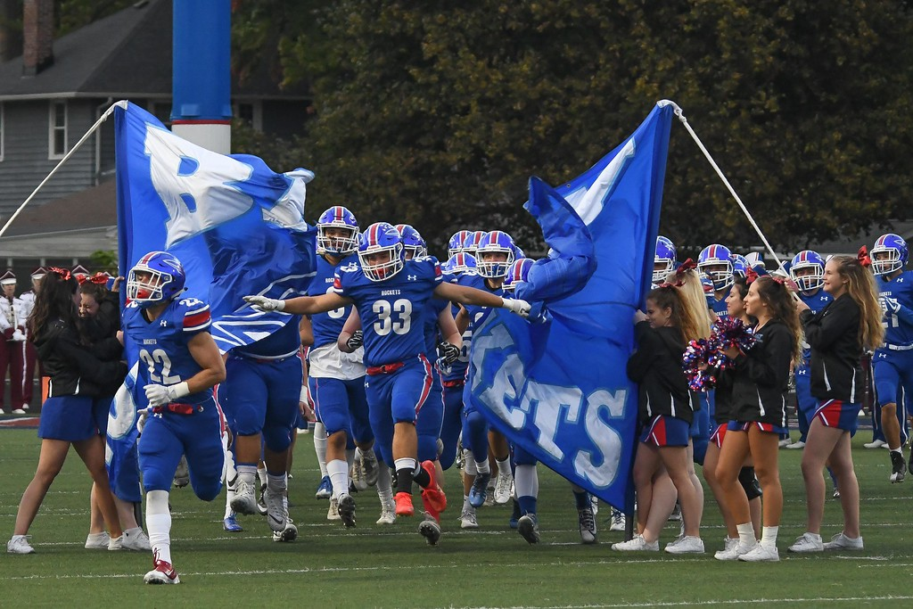 . Eric Bonzar�The Morning Journal <br> The Bay Rockets take the field for the field for their Great Lakes Conference game against the Rocky River Pirates, Sept. 29, 2017.