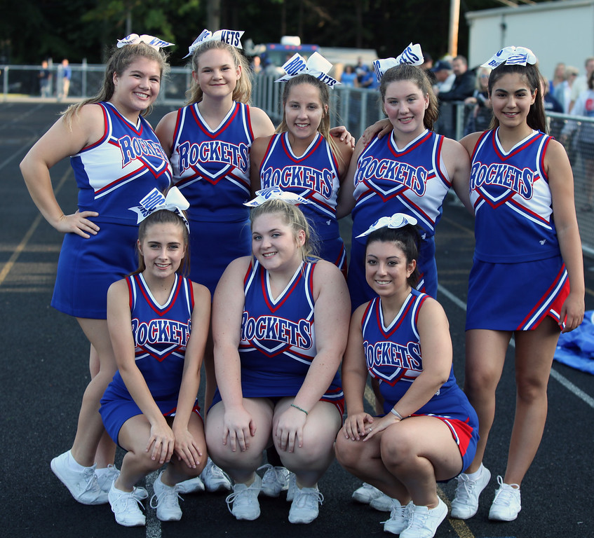 . Randy Meyers - The Morning Journal<br> Bay cheerleaders pose before the season opener against the Keystone Wildcats Aug. 25.