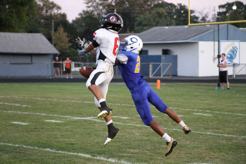 . Nicholas Pfeifer - The Morning Journal<br> Brookside\'s Ravin Andeson breaks up a pass intended for Clearview\'s Gee Newton on Sept. 22.