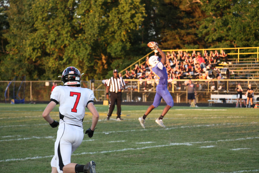 . Nicholas Pfeifer - The Morning Journal<br> Clearviews Jaylen Paschel intercepts the first pass of the game and returns it for a Clippers touchdown against Brookside on Sept. 22.