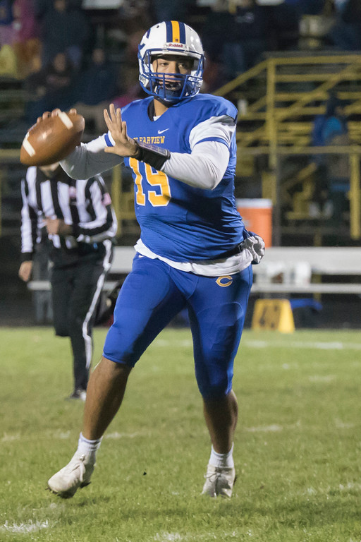 . Jen Forbus - The Morning Journal<br> Clearview quarterback Anthony Terry looks for an open receiver against Brooklyn on Oct. 27.