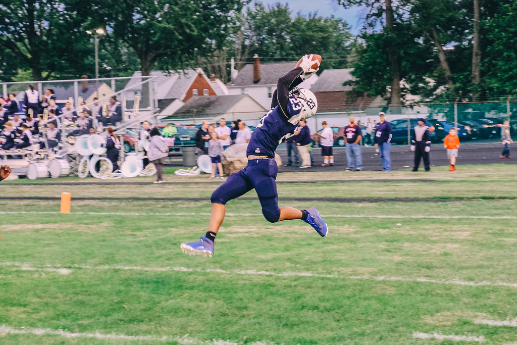 . Nicholas Pfeifer - The Morning Journal<br> Lorain\'s Jermele Nolen Jr. makes an acrobatic catch for a touchdown against Cleveland JFK on Sept. 1.