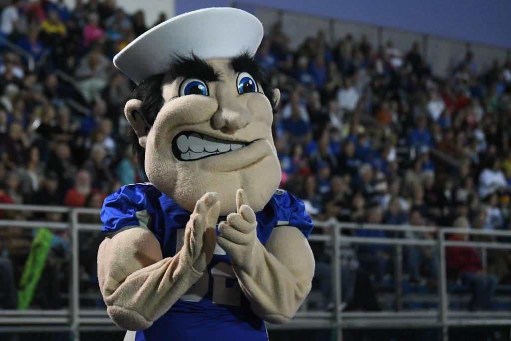 . Eric Bonzar�The Morning Journal<br> Midview\'s mascot applauds the team after a touchdown, Oct. 13, 2017.