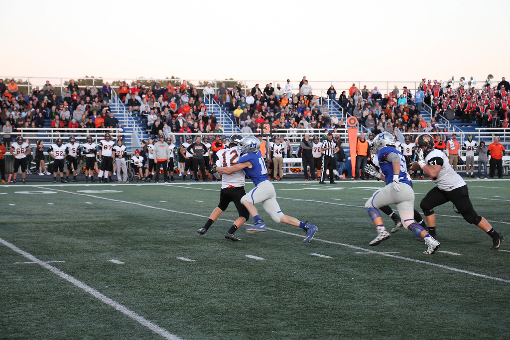. Nicholas Pfeifer - The Morning Journal<br> Midview\'s Seth Frambach with a huge sack on third down against North Olmsted on Sept. 8.