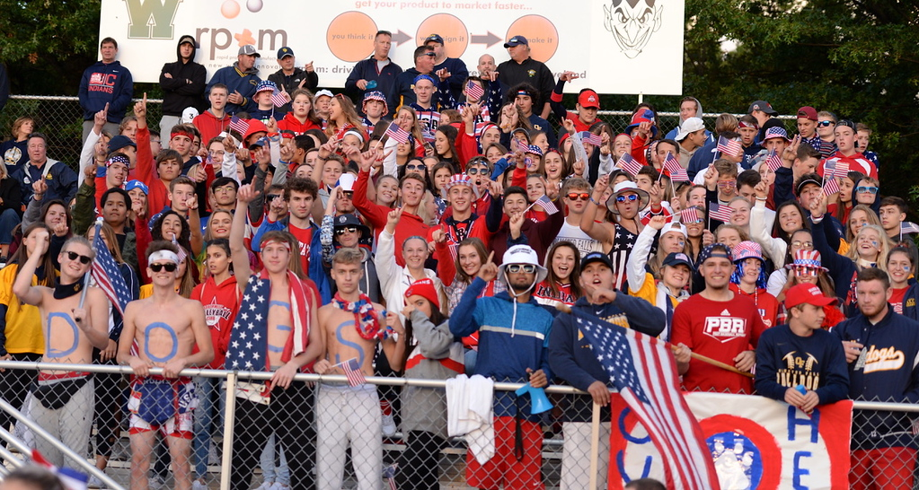 . Aimee Bielozer - The Morning Journal<br> The Olmsted Falls\' student section had a USA theme on Sept. 8.