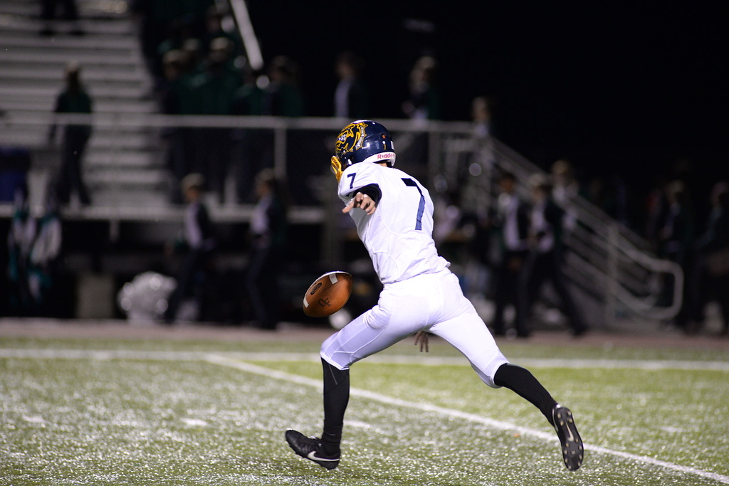 . Aimee Bielozer - The Morning Journal<br> Olmsted Falls\' Jake Politowski punts the ball against Westlake on Sept. 8.