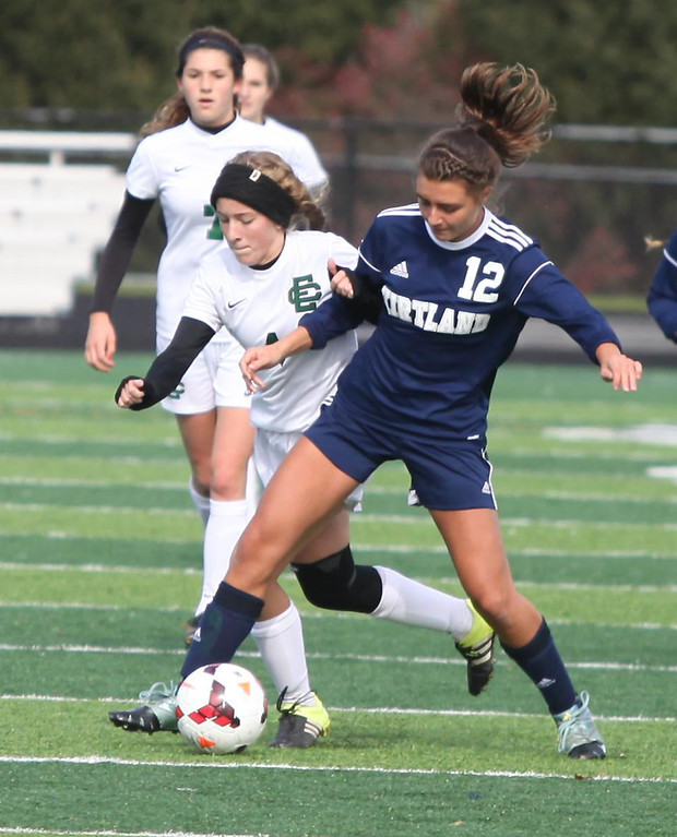 . Randy Meyers - The Morning Journal<br> Kirtland\'s Jessica Hepper battles  Emilie Uhnak of Elyria Catholic for ball possession during the second half  on Saturday