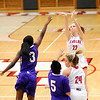 Don Knight |  The Herald Bulletin<br /> Frankton's Sierra Southard shoots a three-point shot as the Eagles hosted Muncie Central on Saturday.