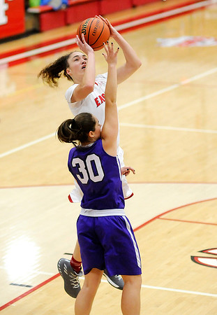 Don Knight    The Herald Bulletin<br /> Frankton's Destyne Knight shoots over Muncie Central's Kelby Stallings on Saturday.