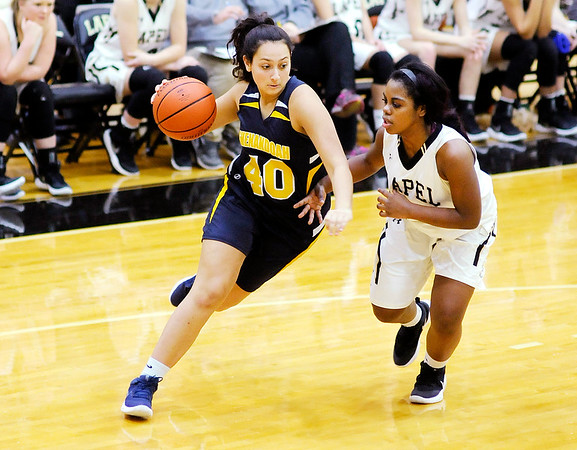 Don Knight |  The Herald Bulletin<br /> Shenandoah's Skylar Counceller drives as she is guarded by Lapel's Morgan Knepp on Thursday.