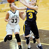 Don Knight |  The Herald Bulletin<br /> Shenandoah's Kathryn Perry scores a layup on a fast break with an assist from Hillery Shepherd as the Lapel Bulldogs hosted the Raiders on Thursday.