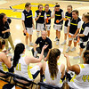 Don Knight | The Herald Bulletin<br /> Shenandoah coach Craig Brunnemer talks to his starting five as the Raiders hosted the Elwood Panthers on Thursday. The girls basketball season got underway this week.