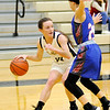 Don Knight | The Herald Bulletin<br /> Lapel's Kylie Rich looks to pass as she is guarded by Elwood's Courtney Todd on Tuesday.