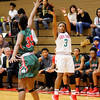Don Knight |  The Herald Bulletin<br /> Anderson's Staisha Hamilton shoots from behind the three-point arc as she is guarded by Lawrence North's Justis Odom on Wednesday.