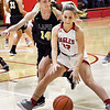 John P. Cleary | The Herald Bulletin<br /> Lapel's Kylie Rich cuts off Frankton's Sierra Southard from driving the baseline during first half action.
