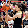 John P. Cleary | The Herald Bulletin<br /> Lapel's Kylie Rich fights for the rebound with Frankton's Addie Gardner.