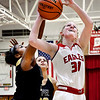 John P. Cleary   The Herald Bulletin<br /> Frankton's Lauryn Bates gets her shot blocked from behind by Lapel's Morgan Knepp.