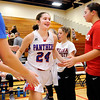 Don Knight |  The Herald Bulletin<br /> Caroline Daughtry runs onto the floor as the Elwood Panthers are introduced before their contest with the Liberty Christian Lions on Friday.