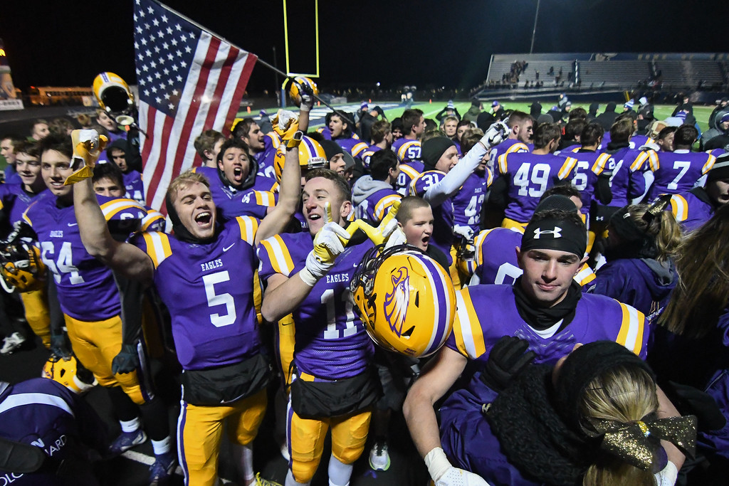 . Eric Bonzar�The Morning Journal<br> The Avon Eagles celebrate their D-II Regional Final Championship after knocking off the Olmsted Falls Bulldogs, 55-14, Nov. 17, 2017.