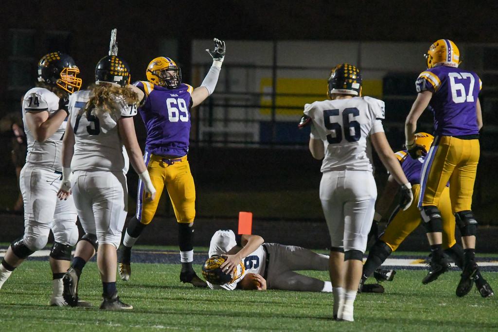 . Eric Bonzar�The Morning Journal<br> Avon defensive linebacker Tim Maguran (69) celebrates a sack on Olmsted Falls quarterback Teddy Grendzynski (9).