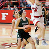 Don Knight | The Herald Bulletin<br /> Frankton's Ava Gardner jumps in front of Pendleton Heights' Kylie Davis on a fast break to the basket at Frankton on Saturday.