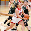 Don Knight | The Herald Bulletin<br /> Frankton's Aleyah Rastetter drives to the basket as the Eagles hosted the Pendleton Heights Arabians on Saturday.