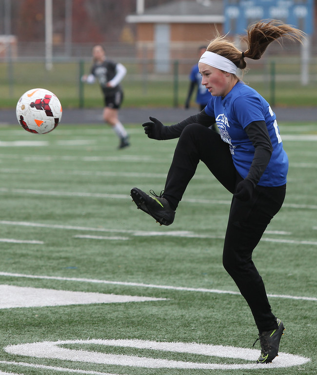 . Randy Meyers - The Morning Journal Wellington\'s Samantha Sparks stops a downfield kick during the first half of the 2016 Lorain County All-Star game at Midview on Nov. 19.