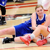 Don Knight | The Herald Bulletin<br /> Frankton's Maddie Rastetter and  Tipton's Rachel Majors grab a loose ball as the Eagles hosted the Blue Devils on Thursday.