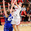 Don Knight | The Herald Bulletin<br /> Frankton's Destyne Knight shoots as the Eagles hosted Tipton on Thursday.
