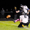 Don Knight | The Herald Bulletin<br /> Lapel's Luke DesNoyers kicks one of his six extra points in the Bulldogs 42-41 overtime win over the Shenandoah Raiders on Friday.