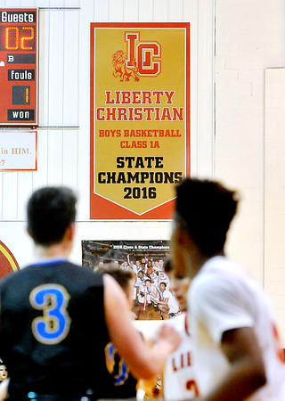John P. Cleary |  The Herald Bulletin<br /> Liberty Christian displayed their new State Champions banner in the Den Tuesday night at team's home opener.