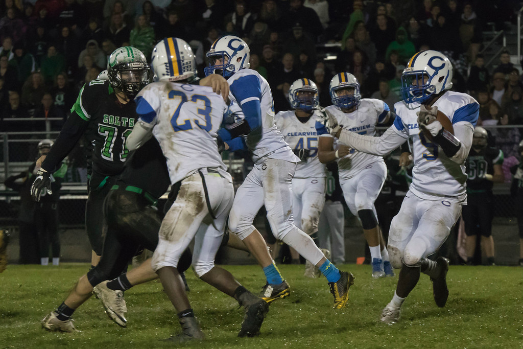 . Jen Forbus - The Morning Journal<br> The Clearview punt return squad leads the way for ball carrier Jaylen Paschel against Clear Fork on Nov. 3.