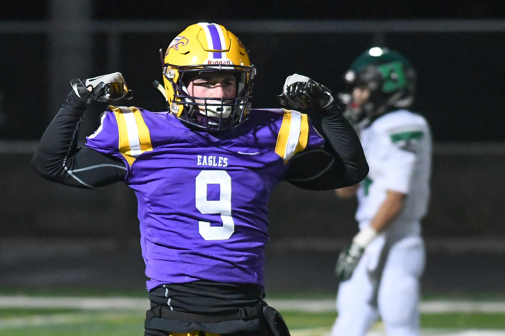 . Eric Bonzar�The Morning Journal<br> Avon\'s David Orlando (9) flexes his muscles after picking off Medina Highland quarterback Carson Gosselin. The Eagles would go on to beat the Hornets, 28-10, Nov. 10, 2017.
