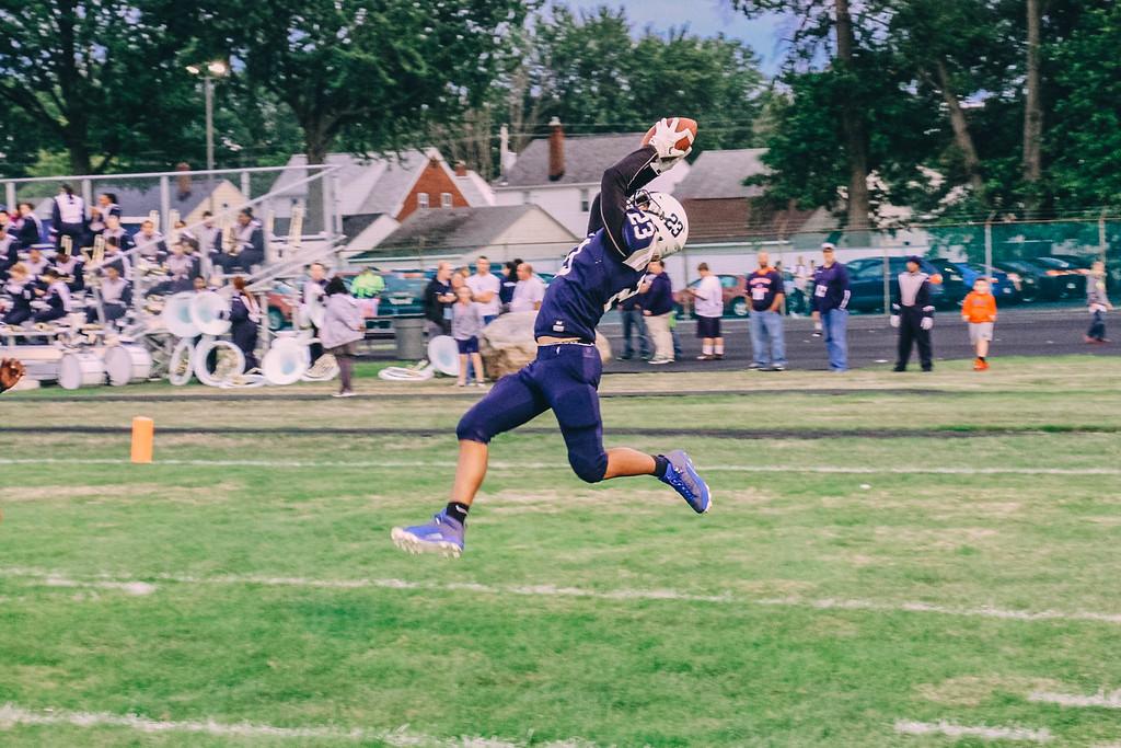 . Nicholas Pfeifer - The Morning Journal<br> Lorain\'s Jermele Nolen Jr. makes an acrobatic catch for a touchdown against Cleveland JFK on Sept. 1.