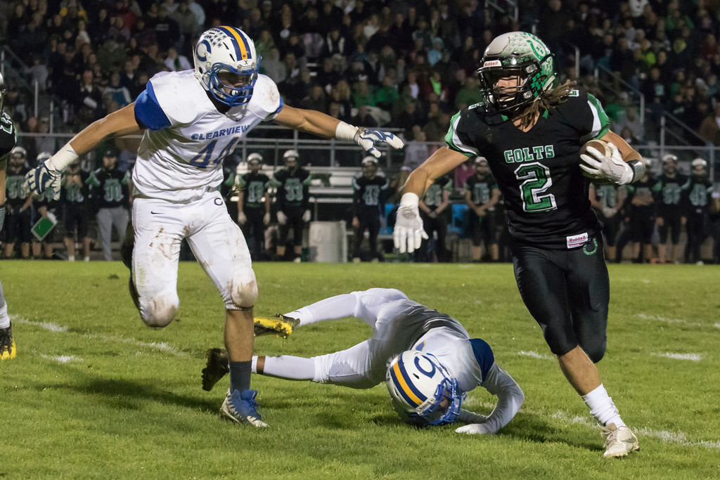 . Jen Forbus - The Morning Journal<br> Clearview linebacker David Renftle (44) moves in to stop a run by Clear Fork running back Trevon Trammell (2) on Nov. 3.