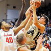 Don Knight | The Herald Bulletin<br /> Lapel's Gage White pulls down a rebound as the Anderson Indians hosted the Bulldogs on Friday.