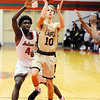 Don Knight | The Herald Bulletin<br /> Lapel's Carson Huber drives into the paint for a basket as the Anderson Indians hosted the Lapel Bulldogs on Friday.