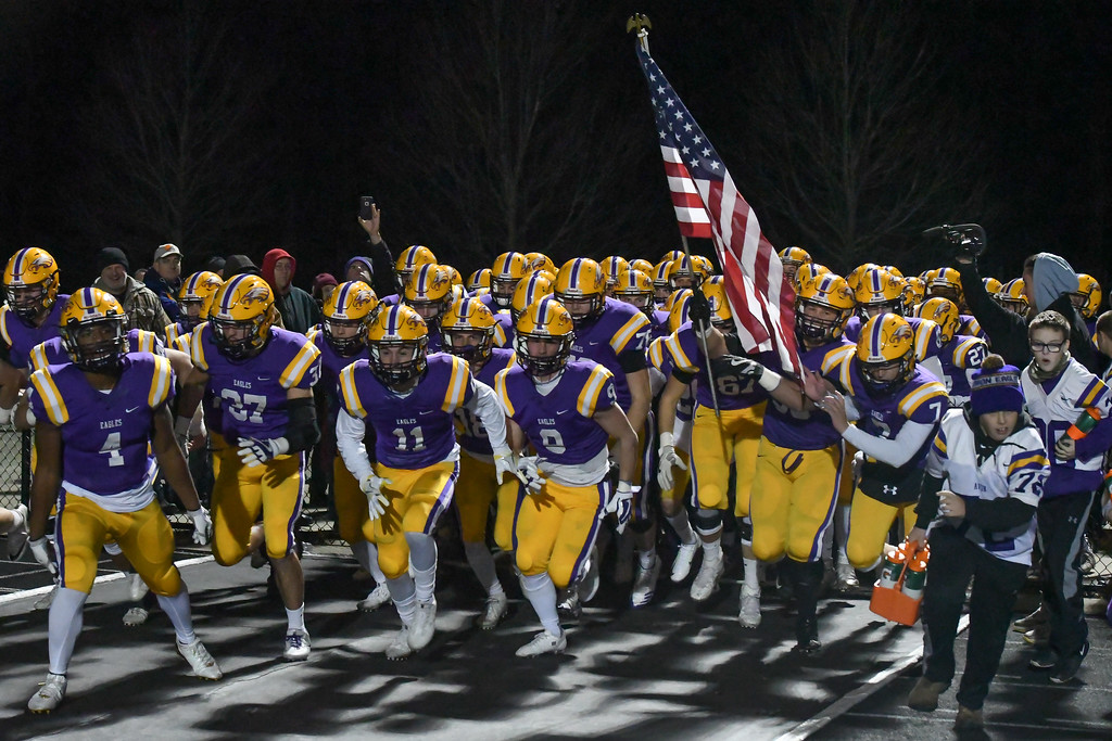 . Eric Bonzar�The Morning Journal<br> Avon takes the field for the last time this season as they lose 30-6 to the Akron Archbishop Hoban Knights, Nov. 24, 2017.