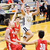 Don Knight | The Herald Bulletin<br /> Lapel's Luke Richardson shoots as the Bulldogs hosted the Frankton Eagles on Saturday.