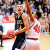 Don Knight | The Herald Bulletin<br /> Lapel's JonRoss Richardson works against the defense of Anderson's Brandon Haralson as he looks to shoot at the Teepee on Friday.