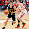 Don Knight |  The Herald Bulletin<br /> Frankton's Rylan Detling guards Lapel's Luke Richardson as the Eagles hosted the Bulldogs on Saturday.