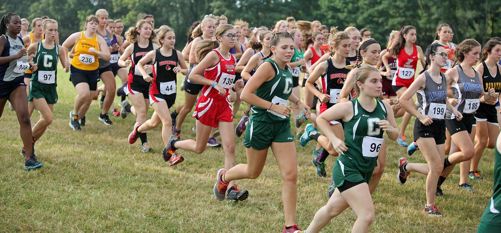 . Randy Meyers - The Morning Journal<br> Runners at the start of the girls race during the Keystone Icebreaker Invitational on Aug. 21.