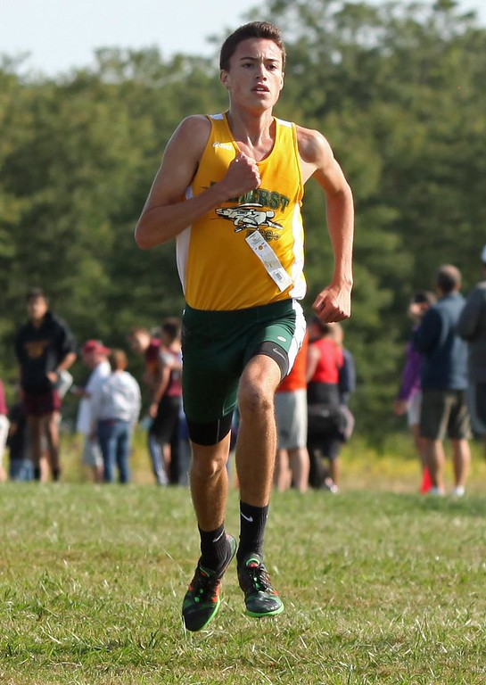 . Randy Meyers - The Morning Journal<br> Josh Hill of Amherst finishes first and well ahead of the remaining runners at the Southwestern Conference Preview held at LCCC on Aug. 26.