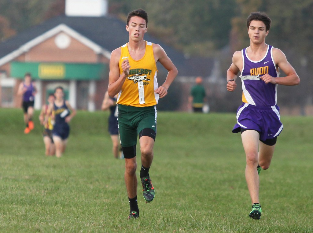. Randy Meyers - The Morning Journal<br> Josh Hill of Amherst and Jack Reed of Avon are even as they approach the third turn of the boys race at the Southwestern Conference Championship on Oct. 14.