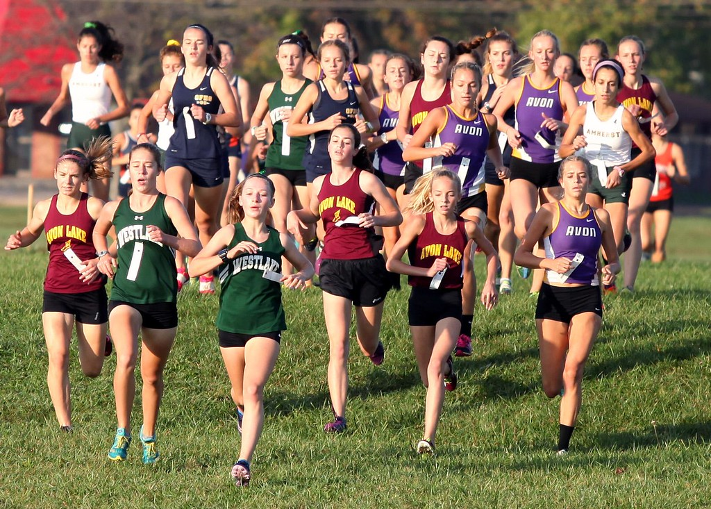 . Randy Meyers - The Morning Journal<br> A group of runners make the first hill at the Southwestern Conference Championship meet during the girls race on Oct. 14.