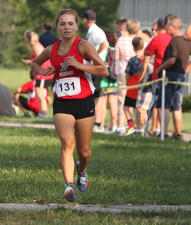 . Randy Meyers - The Morning Journal<br> Fairview\'s Elene Kaufmann finishes firstst in the girls race at the Keystone Icebreaker Invitational on Aug. 21.