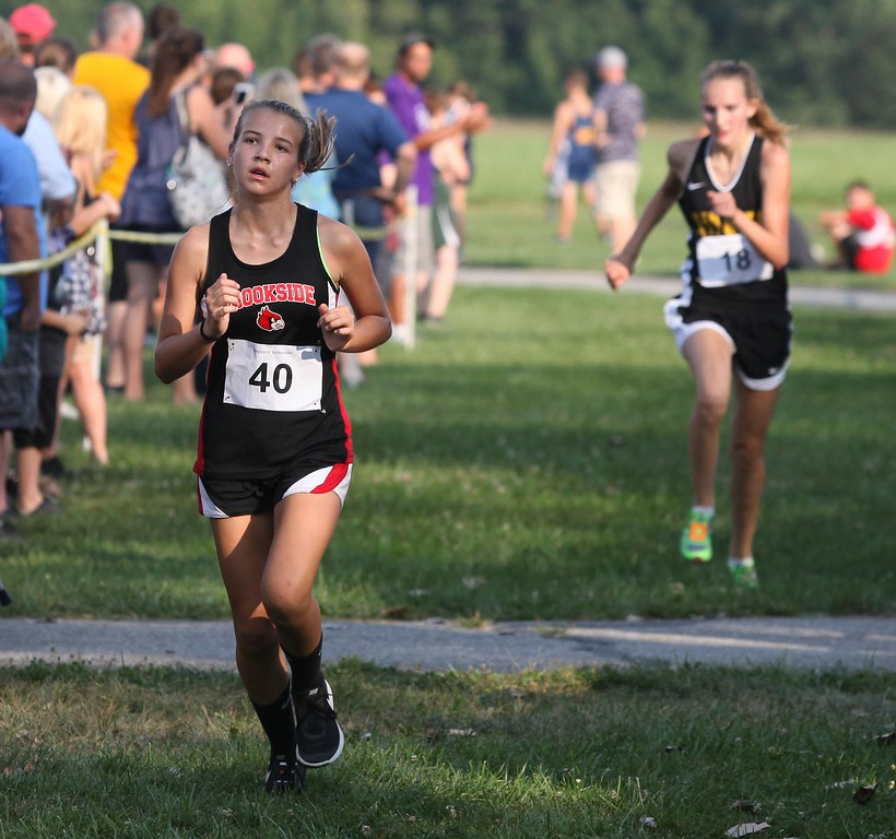 . Randy Meyers - The Morning Journal<br> Brookside\'s Marissa Meyers approaches the finish in the girls race at the Keystone   Icebreaker Invitational on Aug. 21.