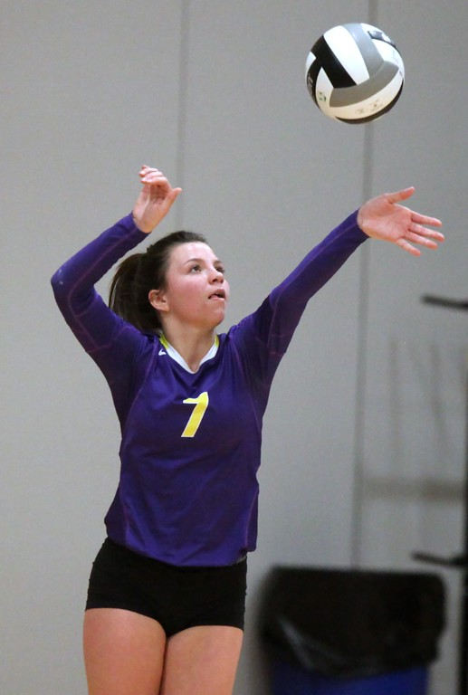 . Randy Meyers - The Morning Journal<br> Avon\'s Erin Gardner serves during the second match at the Lorain County Senior All-Star Game on Nov. 14.