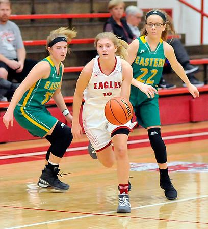 John P. Cleary |  The Herald Bulletin<br /> Eastern vs Frankton in girls basketball.