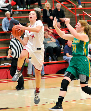John P. Cleary |  The Herald Bulletin<br /> Eastern vs Frankton in girls basketball.